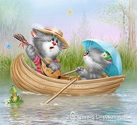 котята на лодках